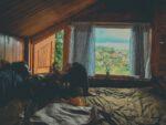 Đây là phòng ngủ ở tầng áp mái của căn nhà gỗ nha. Sáng nắng ùa vào, deep cực!
