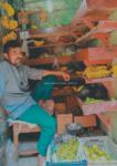 Một bác trai bán chuối ở gần khu đền.